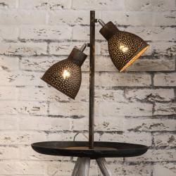 Lampe de table industrielle en métal brun 2 lampes Imane