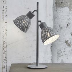 Lampe de table industrielle en métal gris 2 lampes Imane