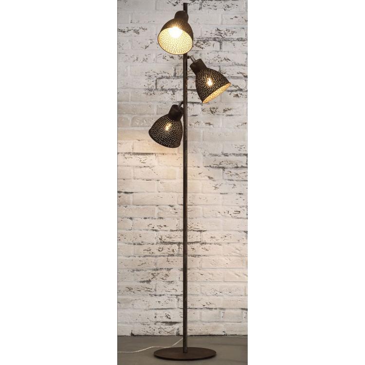 Lampadaire industriel en métal brun 3 lampes Imane
