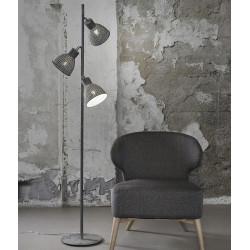 Lampadaire industriel en métal gris 3 lampes Imane