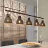 Lustre industriel en métal brun 5 lampes Imane