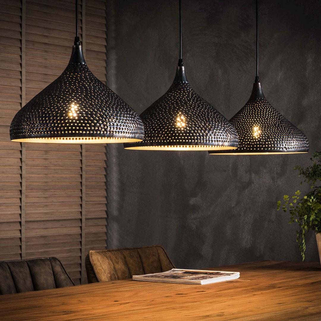 Lustre industriel en métal noir 3 lampes Raphaëlle