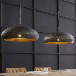 Lustre industriel en métal noir 2 lampes Ø 53 cm Ninon
