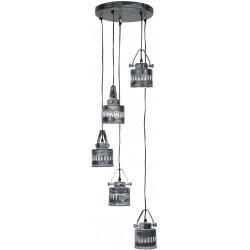 Suspension industrielle en métal gris 5 x Ø 31 cm Luna