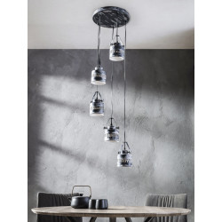 Suspension industrielle en métal gris 5 x Ø 31 cm Luna