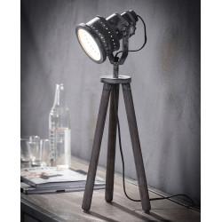 Lampe de table industrielle sur trépried en bois & métal gris Victoire