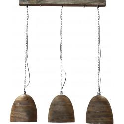 Lustre vintage en bois 3 lanpes Ø 30 cm Elodie