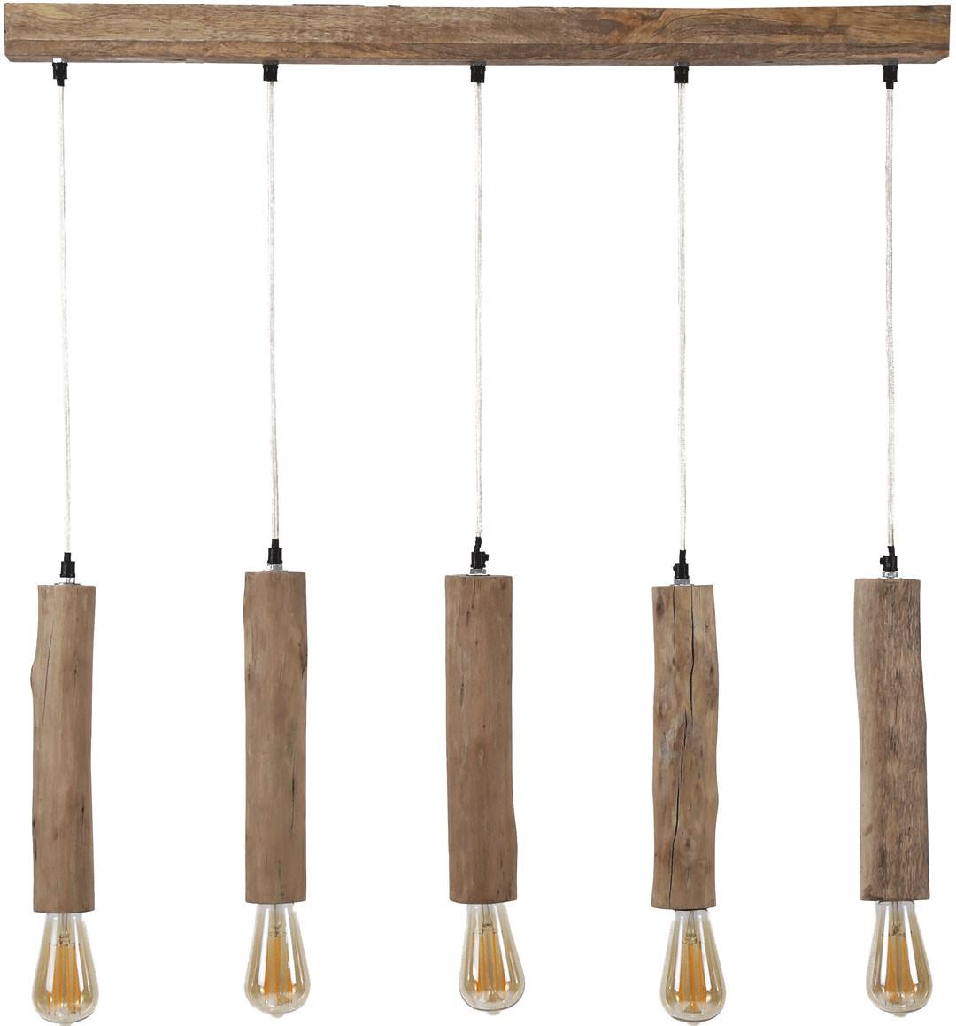 Lustre vintage en bois claire 5 lampes Manel