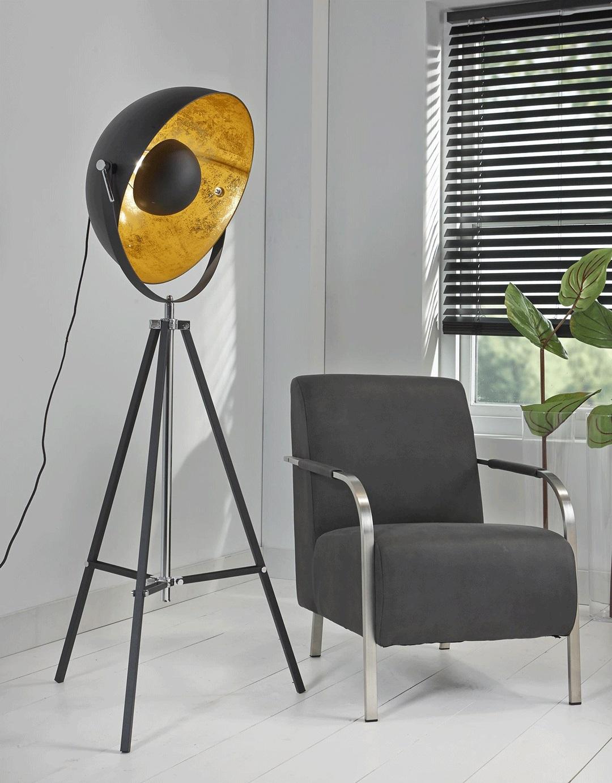Lampadaire design sur trépied en métal noir Alix