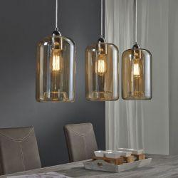 Suspension design en verre ambré 3 lampes Ø 18 cm Elise