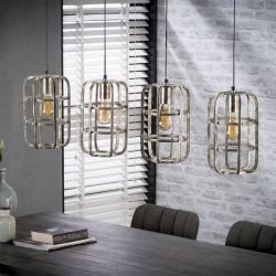 Suspension design en métal gris clair 4 lampes Blanche