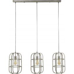 Suspension design en métal gris clair 3 lampes Blanche