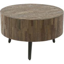 Table basse industrielle ronde en bois massif Lucie