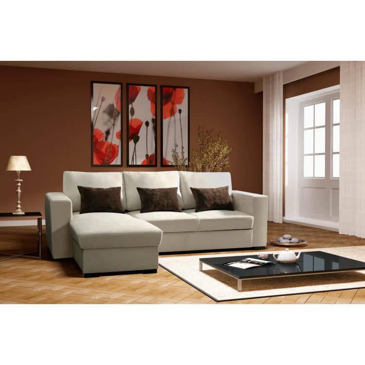 Canapé d'angle convertible réversible en tissu beige Virginie