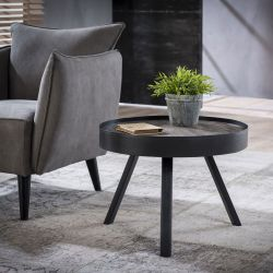 Table basse ronde industrielle en bois massif avec piétement métallique Barbara I