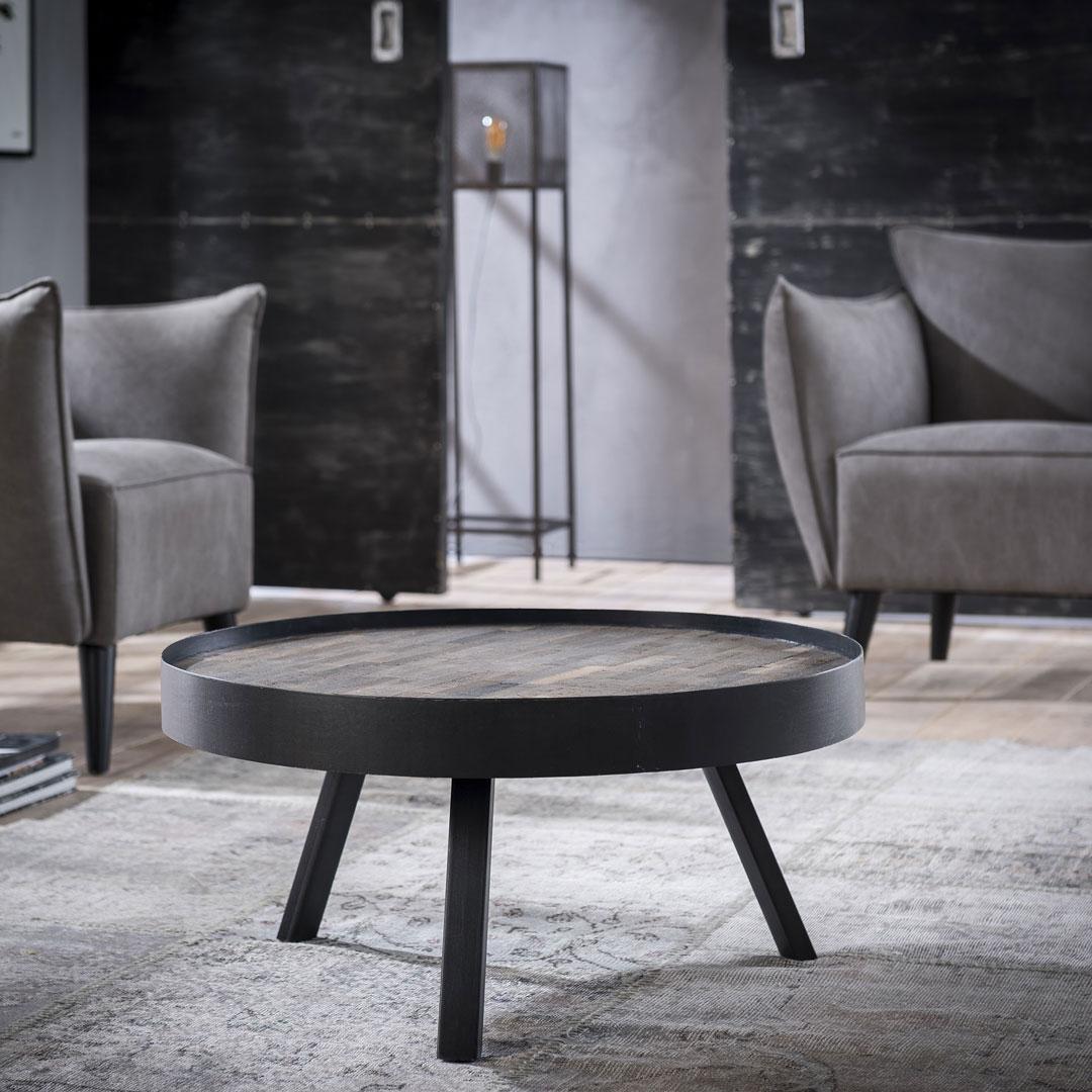Table basse ronde industrielle en bois massif avec piétement métallique Barbara II
