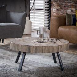 Table basse ronde industrielle en bois massif avec piétement métallique Barbara III