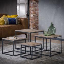 Ensemble de tables basses industriel avec piétement métallique (lot de 4) Salomé