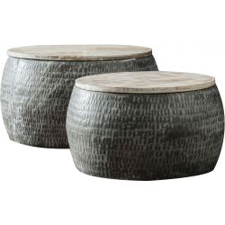 Ensemble de tables basses contemporain en acier et bois manguier Gaël