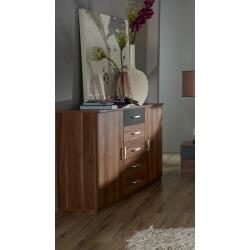 Commode contemporaine 2 portes/5 tiroirs coloris prunier/gris Reveries
