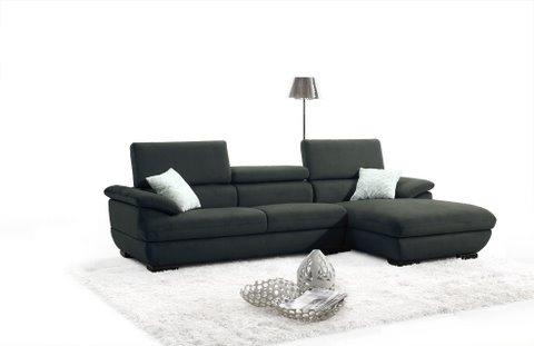 Canapé d'angle design en tissu noir Honfleur