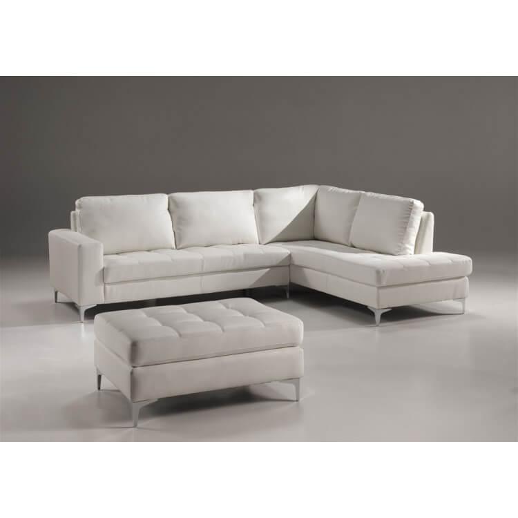 Canapé d'angle design en PU blanc Colmar