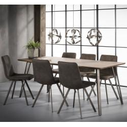 Table de salle à manger design en bois avec piétement en acier Sarah I