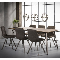 Table de salle à manger design en bois avec piétement en acier Sarah II