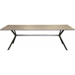 Table de salle à manger vintage en bois avec piétement en acier Marguerite I