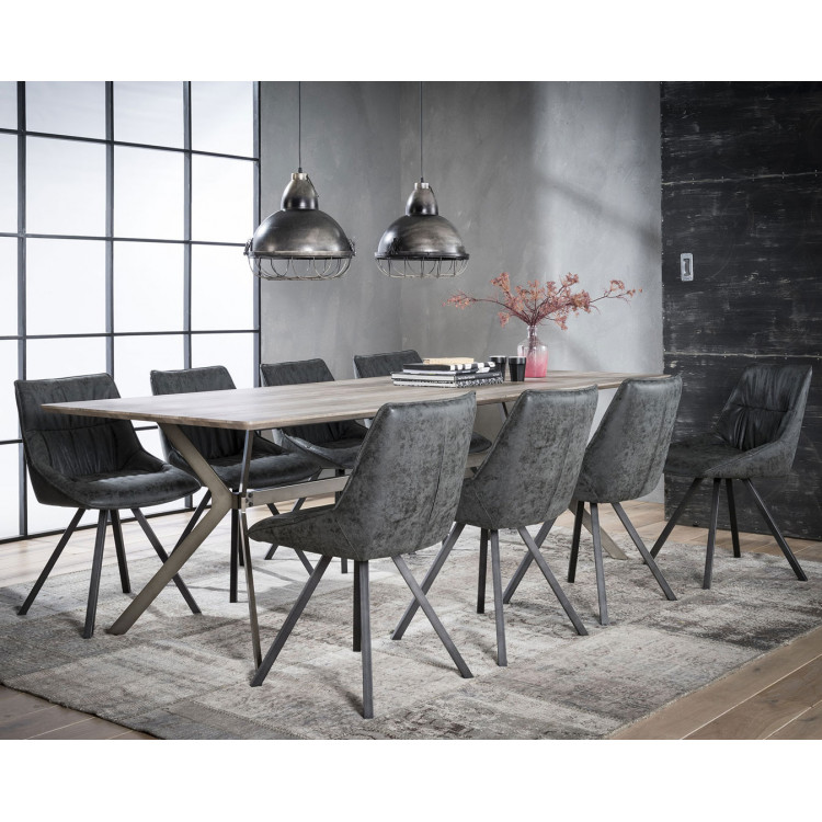 Table de salle à manger vintage en bois avec piétement en acier Marguerite II