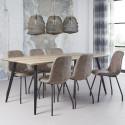Table de salle à manger vintage en MDF coloris chêne antique Angélique I