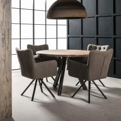 Table de salle à manger contemporaine ronde en bois massif Maud I