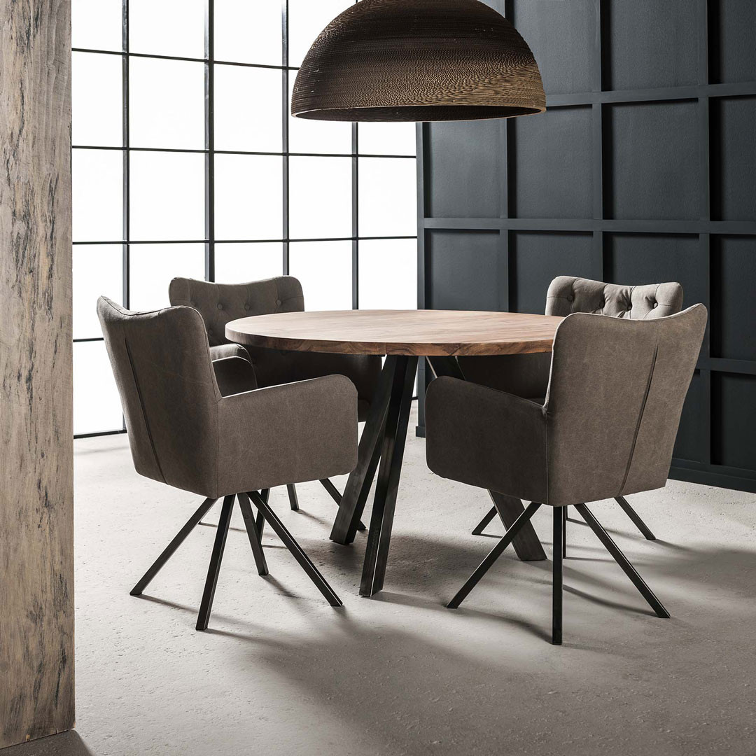Table de salle à manger contemporaine ronde en bois massif Maud