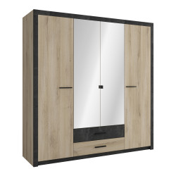 Armoire adulte contemporaine chêne/anthracite Timeo