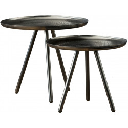 Ensemble de tables basses rondes industriel en acier argenté (lot de 2) Rosalie