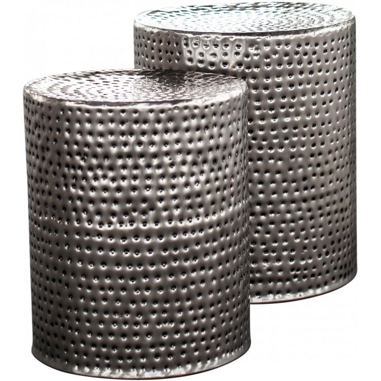 Ensemble de tables basses rondes industriel en acier argenté (lot de 2) Reine