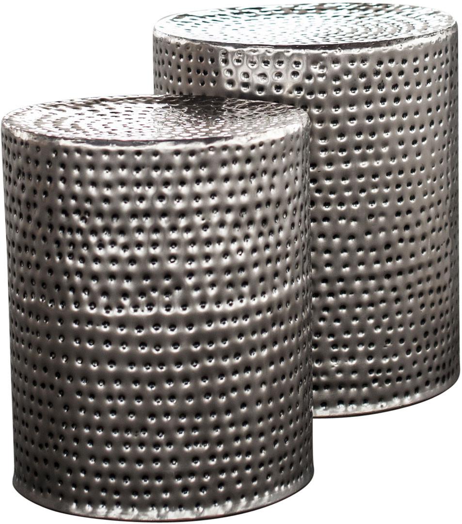 Ensemble de tables basses rondes industrielles en acier argenté Reine