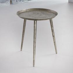 Table basse vintage avec plateau rond en acier argenté Léon I