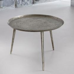Table basse vintage avec plateau rond en acier argenté Léon II