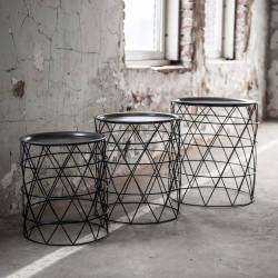 Ensemble de tables basses industriel en acier noir avec plateau rond Matthias