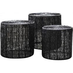 Ensemble de tables basses industriel en acier noir avec plateau rond Matthis