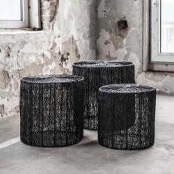 Ensemble de tables basses industrielles en acier noir avec plateau rond Matthis