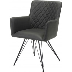 Chaise design avec accoudoirs en tissu et piètement en acier Clotilde