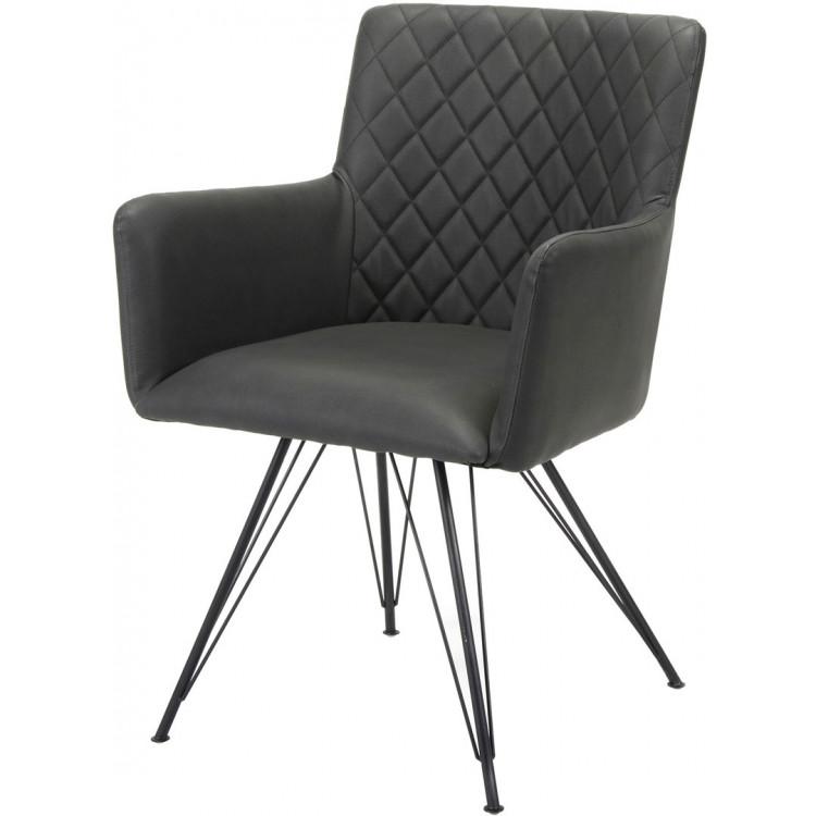 Chaise Design Avec Accoudoirs En Tissu Et Pietement Acier Clotilde