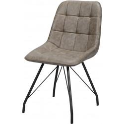 Chaise vintage en PU avec piètement en acier (lot de 4) Elisée II