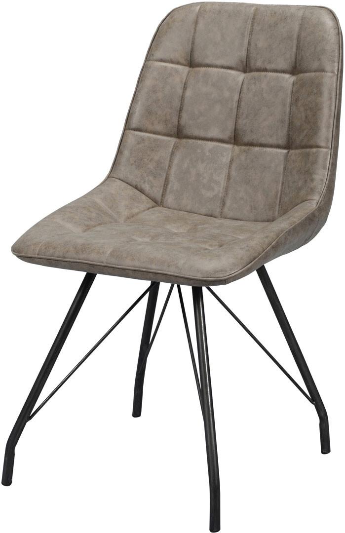 Chaise vintage en PU avec piétement en acier (lot de 4) Elisée II