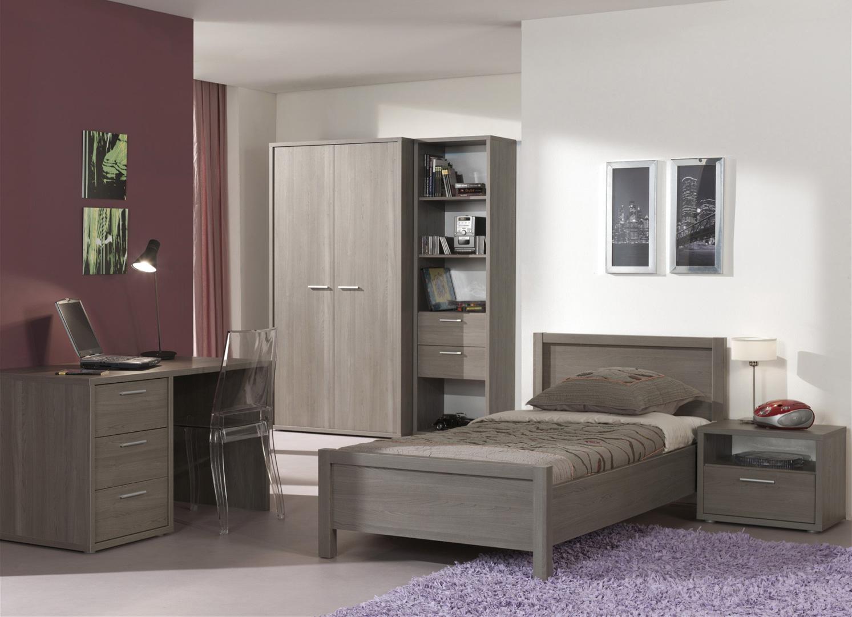 Chambre enfant contemporaine complète coloris bouleau gris Luca II