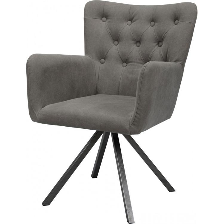 Chaise design en PU avec piètement en acier (lot de 2) Fanny