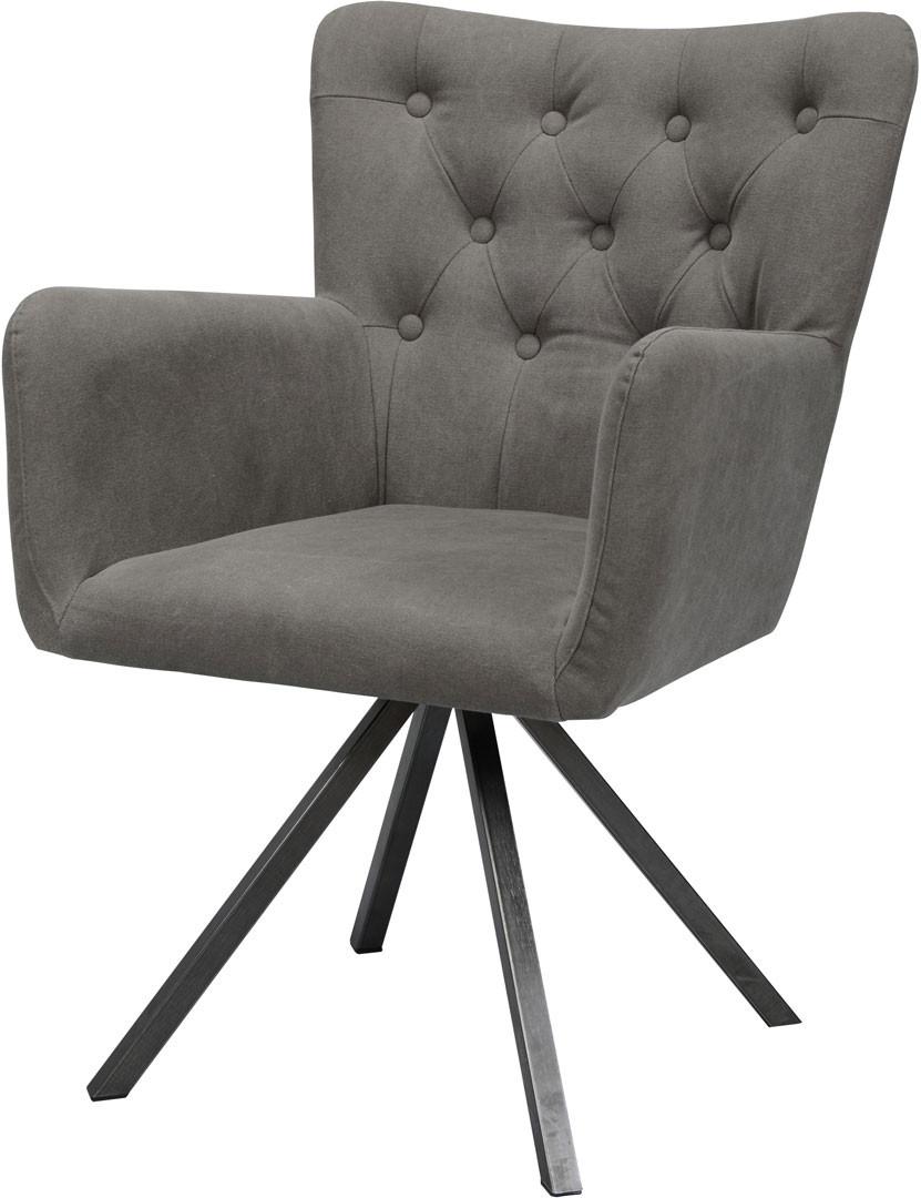 Chaise design en PU avec piétement en acier (lot de 2) Fanny