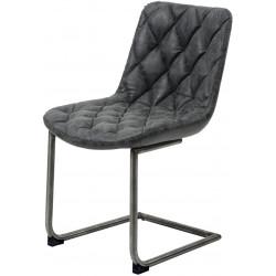 Chaise vintage en PU avec piètement en acier inoxydable (lot de 2) Léo